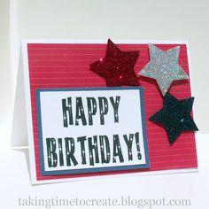4th of July themed handmade birthday card.