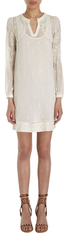 "ISABEL MARANT Embroidered Long Sleeve Coverup made with Silk Chiffon. Floral embroidery at the shoulders, sleeves, cuffs and hem border. Inside slip is 34""// Will be trying to do a DIY version of this because this is identical to a Pakistani-style kurta right down to the embroidery."