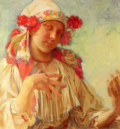 Alphonse Mucha, (24 de julio de 1860 - 14 de julio de 1939) fue un pintor y artista decorativo checo, ampliamente reconocido por ser uno de los máximos exponentes del Art Nouveau.  Young Girl In A Moravian Costume oil.1920