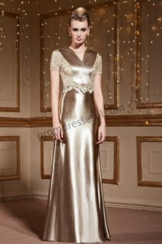 Champagne V-Neck Short Sleeve Embroidery Evening Dress SY026