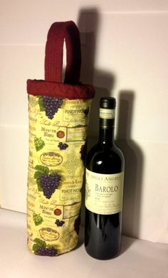 Beautiful fabric - Love the grapes and wine label print on this wine bag!! https://www.etsy.com/listing/120537188/lovely-wine-bottle-bag-perfect-for-all