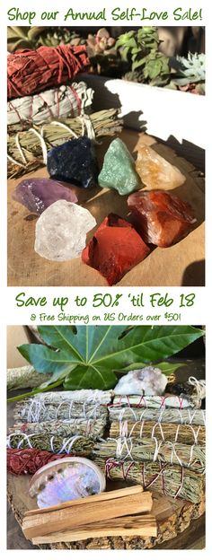 TREAT YOURSELF during our ANNUAL SELF-LOVE SALE!  Enjoy up to 50% off Sitewide + FREE SHIPPING on all US orders $50+ now thru Feb 18th!    Shop our entire collection of #Sage & Herbs, #Chakra Sets, #CrystalHealing Jewelry, #108 #MalaBeads & more!