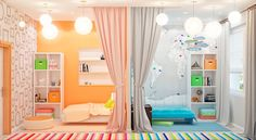 Зонирование детской комнаты для двоих разнополых детей #дизайнинтерьера…