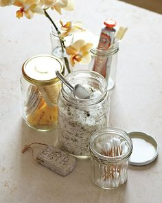 <10 of 15 >  Reuse It: Glass Jars    Instead of tossing that spaghetti sauce or jam jar into the recycling bin, give it a new life. Keep your bathroom counter clutter-free by popping cotton swabs and balls, combs, toothbrushes, bath salts, and makeup brushes into different sized jars.