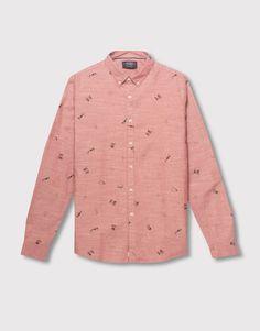Pull&Bear - hombre - camisas - camisa tipo oxford manga larga - burdeos claro - 05470516-V2016