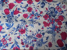 """Vintage Retro Red & Blue Floral Polyester Stretch Fabric  68"""" W  x 7 1/4 Yards by Dockb30Crafts on Etsy"""