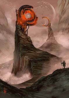 Montrí, Detherspell's moon, where all the energy is produced. The man is probably Keltazoar- or perhaps Lordia. Fantasy Artwork, Fantasy Concept Art, Dark Fantasy, Arte Sci Fi, Sci Fi Art, Landscape Concept, Fantasy Landscape, Landscape Design, Fantasy Places