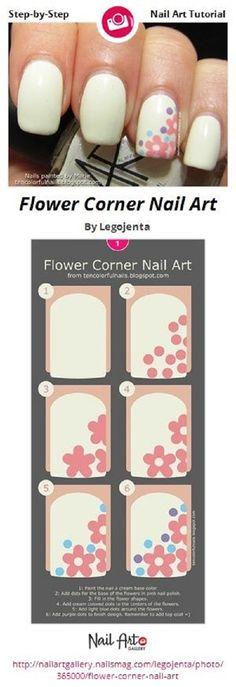 DIY Paint Nails Flower Corner Nail Art by Legojenta - Nail Art Gallery Step-by-Step Cute Nail Art, Nail Art Diy, Easy Nail Art, Diy Nails, Cute Nails, Pretty Nails, Manicure, Nail Art For Kids, Flower Nail Art
