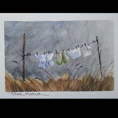 """""""Laundry Day"""". Line and Wash Watercolor using masking tape to preserve highlights. New YouTube Video. Clickable Link to my YouTube Channel is in my bio or cut and paste following link. https://m.youtube.com/c/petersheelerart My sketches now for sale on Ebay: http://www.ebay.ca/sch/sheelerart/m.html?_nkw=&_armrs=1&_ipg=&_from= #Video #youtube #youtubers #landscape #art #original #watercolor #winsorandnewton #watercolour #painting #urbansketch #penandink #architecture #ink #moleskine_art..."""