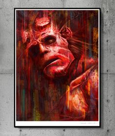 Hellboy - llustration art giclée print signed by the artist. 30 x 40 cm poster. TomekBiniek.com by TomekBiniek on Etsy