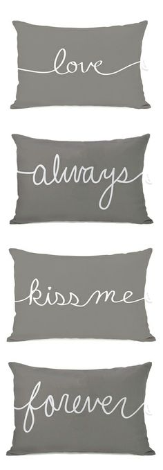 love. always. kiss me. forever. // pillows with words