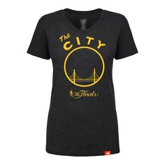 super popular 5bfea 4439e Golden State Warriors Sportiqe Women s NBA Finals  The City  Logo Abyss  Tri-blend V-neck Tee - Black