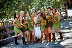 Love the colors and different necklines of the dresses... Different boots for my wedding though!