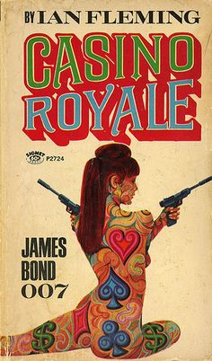 Classic artwork from the original James Bond Book cover. See more decorating ideas for a Casino Royale party at www.sparklerparties.com/casino-royale