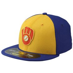 Milwaukee Brewers New Era Youth Diamond Era BP 59FIFTY Performance Fitted Hat - Royal/Gold - $18.99