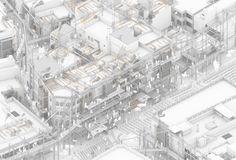 PFC 1311 by Alfonso Melero Beviá and Luis Ortiz Martínez. Architecture Concept Diagram, Architecture Graphics, Architecture Drawings, Architecture Portfolio, Landscape Architecture, Landscape Design, Architecture Design, Architecture Diagrams, Gothic Architecture