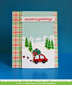 Home for the Holidays, Little Town Border _ card by Lynnette for Lawn Fawn