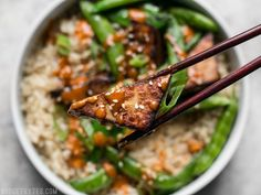 Soy Marinated Tofu Bowls with Spicy Peanut Sauce | Budget Bytes | Bloglovin'