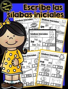 Escribe las sílabas iniciales / Write the. by TINC Teaching Tools Spanish Teaching Resources, Spanish Language Learning, Spanish Lessons, Teaching Tools, Spanish Activities, Letter Activities, Language Arts, Teaching Ideas, Bilingual Kindergarten