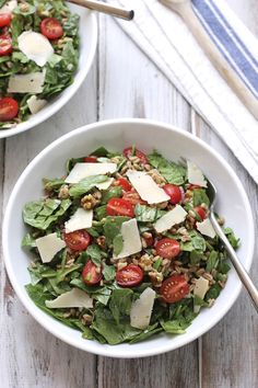 This is a satisfying, nutty flavored salad using farro with cherry tomatoes, spinach and shaved parmesan. It's tossed with some minced red onion, crunchy walnuts and a red wine vinaigrette with a g...
