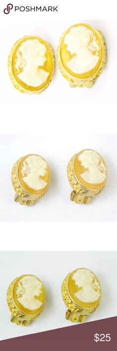 """Erwin Pearl Gold Cameo Oval Clip-on Earrings Erwin Pearl Gold Cameo Oval Clip-on Earrings  Erwin Pearl has been making fine costume jewelry since 1952. These earrings are great for any collector who loves classic cameo style jewelry.  Vintage earrings Clip on style By the jewelry designer Erwin Pearl Circa 1970's Gold Small oval style, with clear yellow underlay White details profile art of women .75"""" length x 25"""" width  Condition: Gorgeous, no major defects or wear except normal wear and…"""