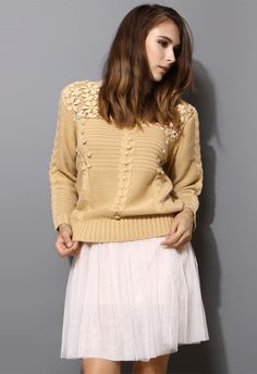 Crochet Floral Light Tan Sweater - Long Sleeve - Tops - Retro, Indie and Unique Fashion