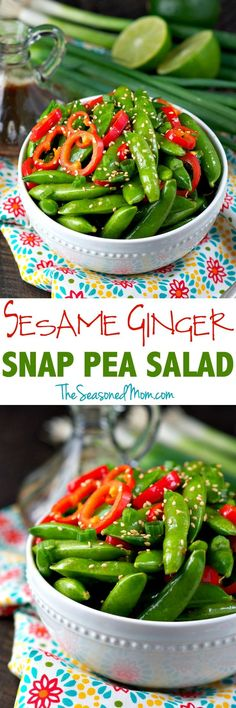In just 10 minutes you can toss together this flavorful and healthy Sesame Ginger Snap Pea Salad! It's the perfect Asian-inspired side dish to take advantage of fresh spring vegetables! Healthy Snacks, Healthy Eating, Healthy Recipes, Pea Recipes, Side Dish Recipes, Asian Recipes, Side Dishes, Snap Pea Salad, Snap Peas