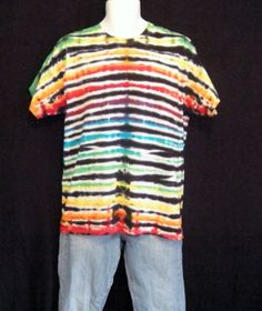 Adult Large Tie Dye Electric Lines T Shirt by CraftyColors