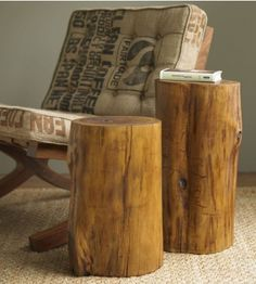 Bring an earthy feel to your home décor with these beautiful teak wood stools. Teak is synonymous with sustainable wood furniture, and these stools are no different. Each comes from FSC-certified teak farms. Log Furniture, Reclaimed Wood Furniture, Teak Wood, Repurposed Furniture, Furniture Ideas, Trunk Side Table, Stump Table, Into The Woods, Industrial Style Furniture