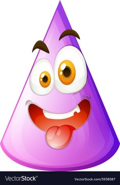 Purple cone with silly face vector image on VectorStock Silly Faces, Funny Faces, Shape Pictures, Single Image, Smiley, Adobe Illustrator, Vector Free, Shapes, Purple
