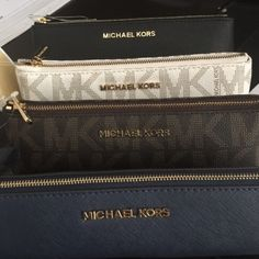 100% Authentic Micheal kors pencil case New never used with tag. Black and gold colorprice is firm available colors MICHAEL Michael Kors Bags Clutches & Wristlets