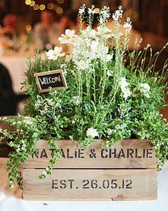 Personalized Crate. Use as a stylish wedding centerpiece or gift - love the personalisation