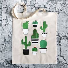 Items similar to cactus tote bag on Etsy Tote Bags Handmade, Diy Tote Bag, Painted Bags, Fabric Bags, Reusable Bags, Cloth Bags, Canvas Tote Bags, Canvas Totes, Cotton Tote Bags
