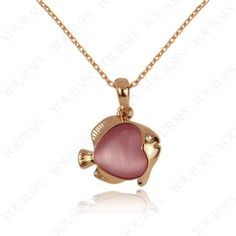 Charm Swarovski Crystal 18K Rose Gold Plated Pink Opal Stone Lovely Fish Pendant Necklace N174R2