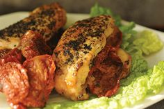 Slow Cooker Chicken Breast Stuffed with Sun-Dried Tomatoes. Low calorie, high protein, low fat, low carb.