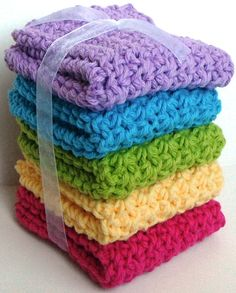 Crochet Dishcloths Washcloths  Set of 5