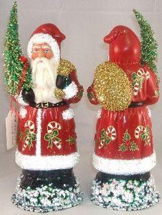 INO Schaller German Christmas Paper Mache Red Candy Cane Santa