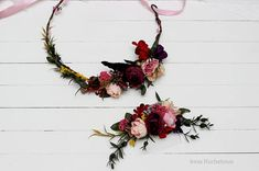 Bridal bridesmaid flower accessories Flower crown Floral comb Wedding hair wreath Pink purple headpiece Flower headband Outdoor Wedding set