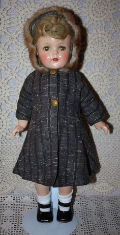 Fur Trimmed Hooded Coat for Composition or Hard Plastic Dolls 1930s