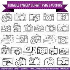 Camera Clipart Clip Art, Photography Logo Elements, Layered Editable PSDs and Vectors by PinkPueblo on Etsy Clipart, Tattoo Son, Back Tattoo, Tattoo Life, Photography Camera, Photography Logos, Pencil Illustration, Business Illustration, Simple Illustration