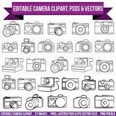 Cámara Clipart Clip Art fotografía logotipo por PinkPueblo en Etsy
