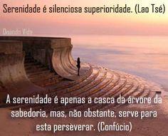 Serenidade nas agitações da vida... Uma das grandes sabedorias da vida é agir com serenidade e equilíbrio nos momentos que nos apresentam agitações, sofrimentos, perturbações ou turbilhões da vida. O sofrimento é inevitável e nesses momentos difíceis temos que aprender a agir com discernimento, paciência e serenidade... A serenidade é apenas a casca da árvore da sabedoria, mas, não obstante, serve para esta perseverar. (Confúcio)