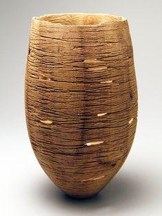 """Jérôme Blanc ~ Wood Sculpture """"Trace"""" 2012  ~ Orme  (d 12.5 x h 20 cm)"""