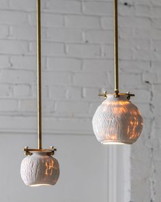 These pendant lights are part of The Desert series, and are assembled with industrial brass fixings to contrast with the fluid white porcelain. Residential Lighting, Light Of My Life, Light Photography, White Porcelain, Decorative Accessories, Pendant Lighting, Deserts, Ceiling Lights, Design