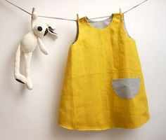 Reversible sleeveless yellow linen dress for by robedellarobi, €32.00