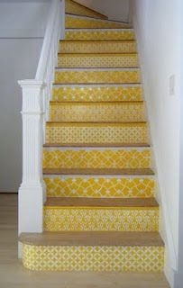 Love the idea of wall paper on the stairs!!