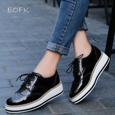 3911b2ef630 EOFK Primavera Plataforma de Las Mujeres Zapatos de Mujer Atan Para Arriba  Calzado de Charol Pisos Brogue Oxford Zapatos Planos Femeninos de las  mujeres ...