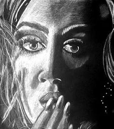 contrast drawing, high school, white charcoal on black paper.