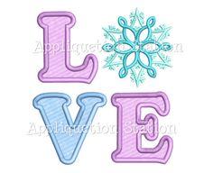 LOVE Snowflake Applique Machine Embroidery Design Pattern frozen winter INSTANT DOWNLOAD