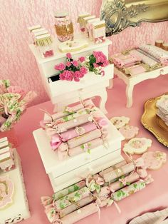 Treats at a fairy shabby chic birthday party! See more party ideas at CatchMyParty.com!